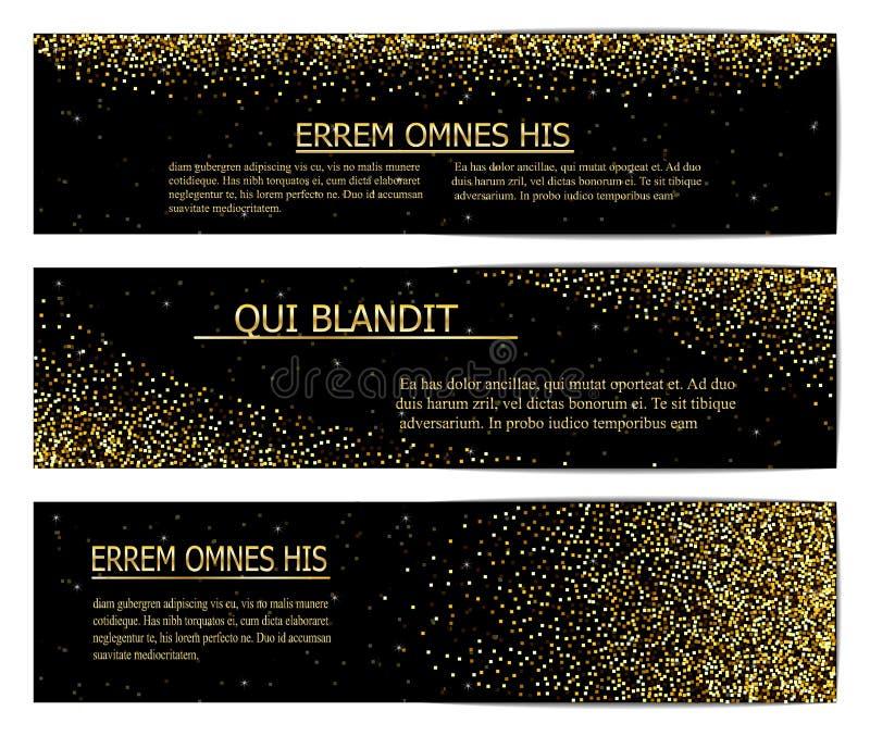 Bannières horizontales de noir et d'or réglées, saluant le design de carte Illustration d'or de vecteur de la poussière illustration de vecteur