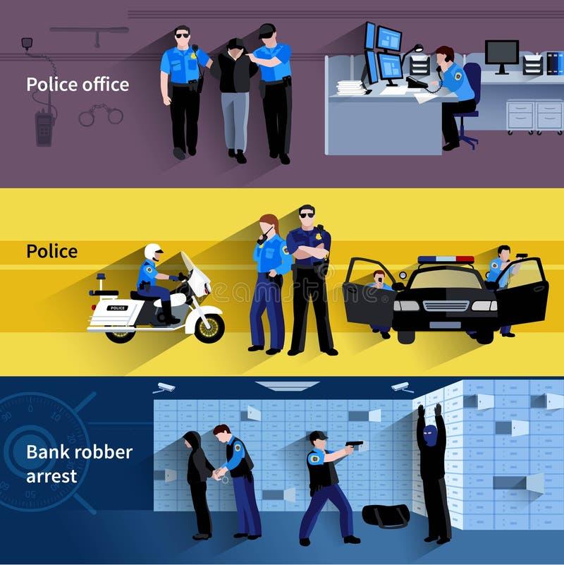 Bannières horizontales de personnes de policier illustration libre de droits