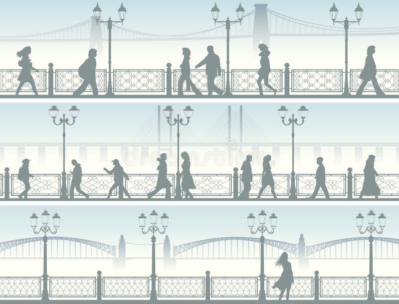 Bannières horizontales de remblai avec des personnes. illustration stock