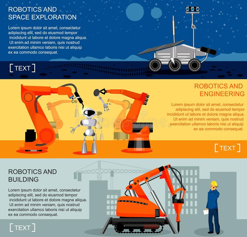 Bannières horizontales de robotique et d'automation réglées illustration libre de droits
