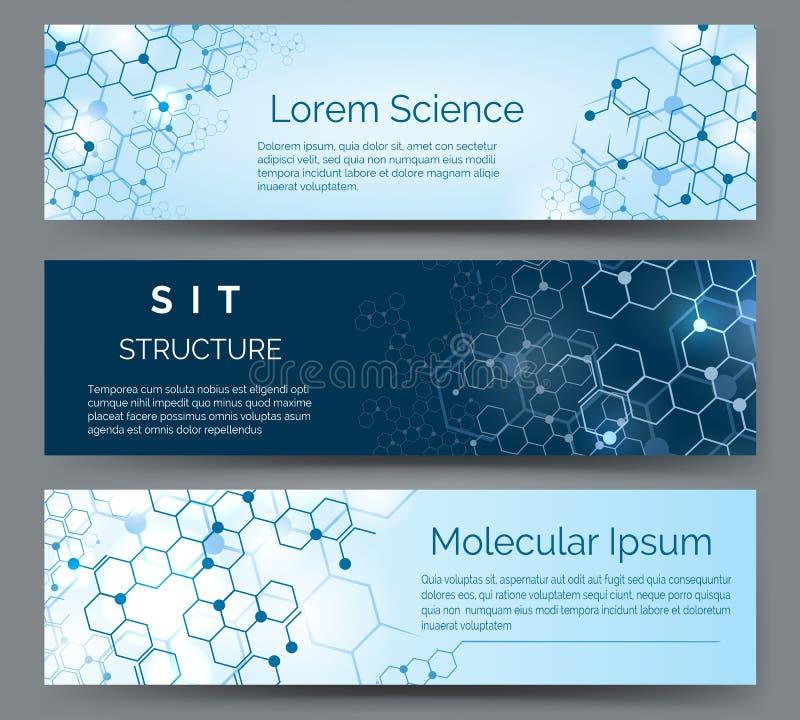 Bannières horizontales de structure moléculaire illustration de vecteur