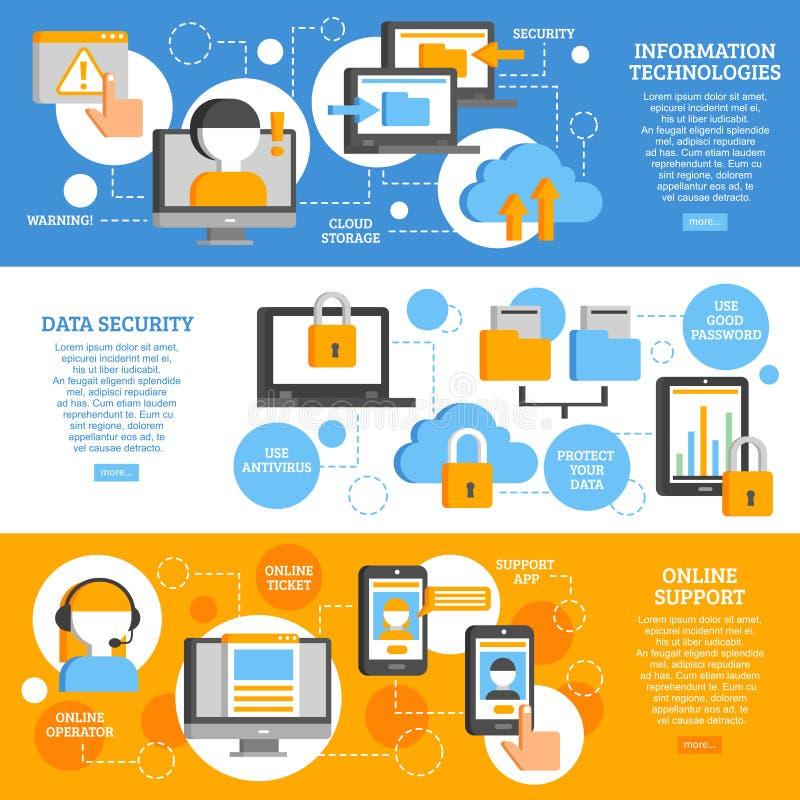 Bannières horizontales de technologies de l'information illustration de vecteur