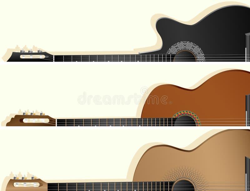 Bannières horizontales de vecteur de quelques types guitare illustration stock