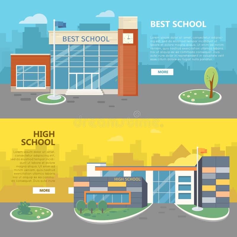 Bannières horizontales de vecteur du meilleur et lycée illustration libre de droits