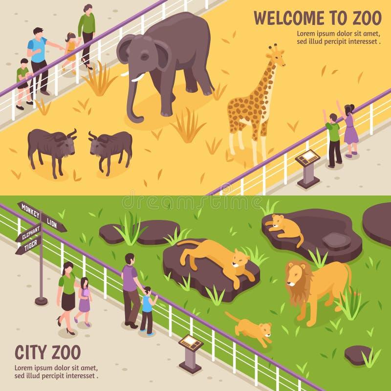 Bannières horizontales de zoo isométrique illustration stock