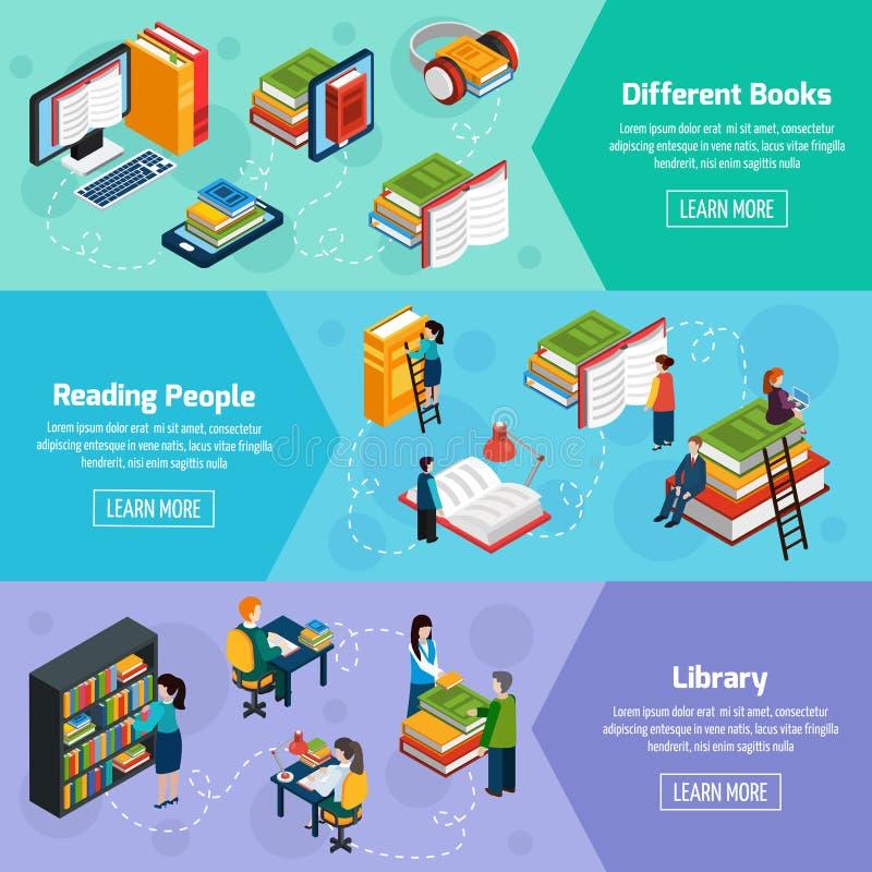 Bannières horizontales isométriques de bibliothèque illustration libre de droits