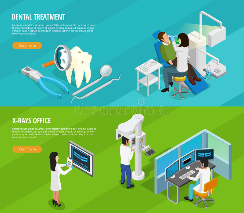 Bannières horizontales isométriques dentaires illustration stock