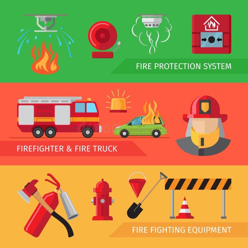 Bannières horizontales plates de sapeurs-pompiers illustration libre de droits