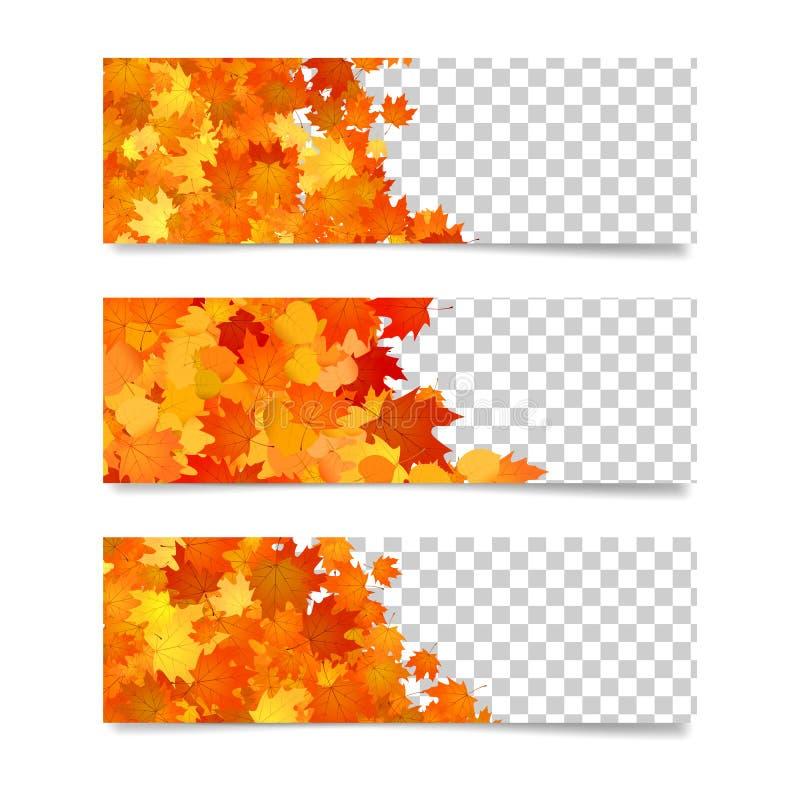 Bannières horizontales pour des sites Web Calibres promotionnels de frontières avec les feuilles jaunes et d'orange illustration de vecteur