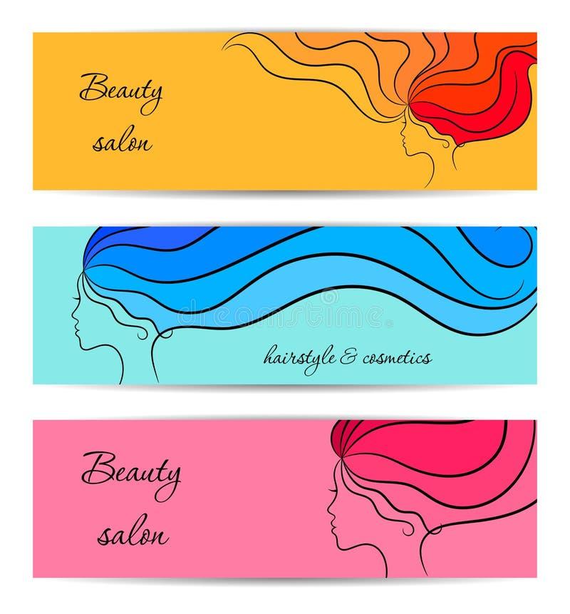 Bannières horizontales pour la beauté et salon de cosmétiques avec des profils de fille illustration de vecteur