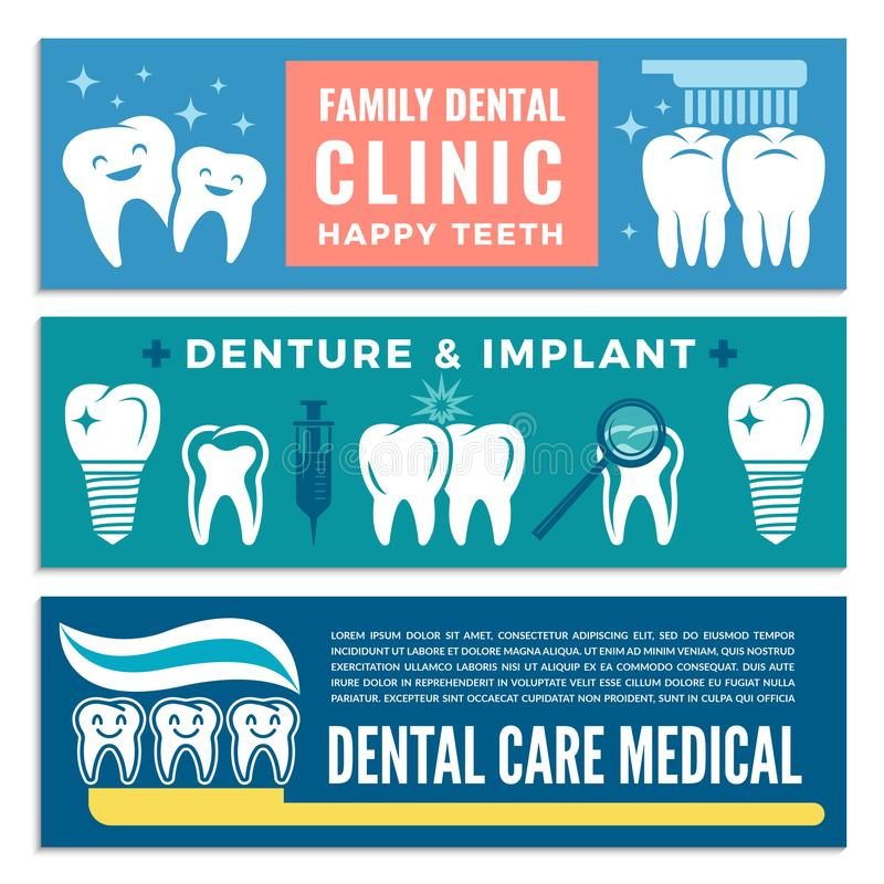 Bannières horizontales pour la clinique dentaire avec des illustrations des dents illustration libre de droits