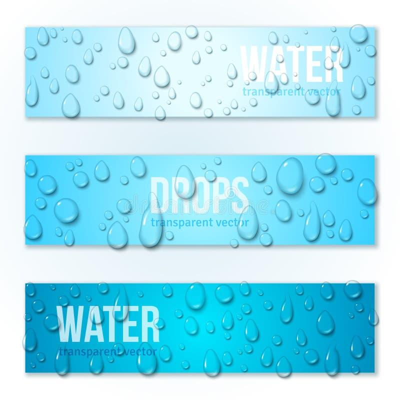 Bannières horizontales réglées avec des baisses de l'eau illustration de vecteur