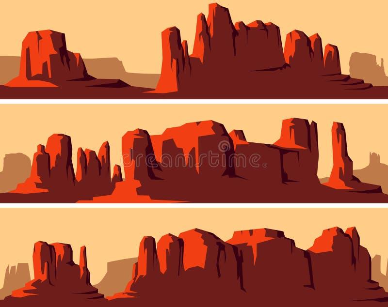 Bannières horizontales stylisées de désert occidental sauvage illustration libre de droits