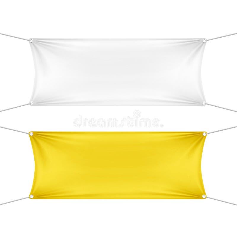 Bannières horizontales vides vides blanches et jaunes illustration libre de droits
