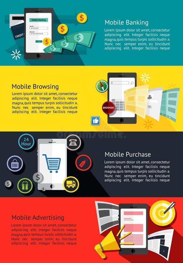 bannières infographic d'affaires de M-commerce ou de téléphone portable au sujet de MOIS illustration libre de droits