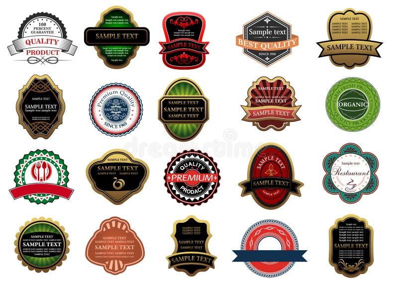 Bannières, insignes et labels au détail illustration stock