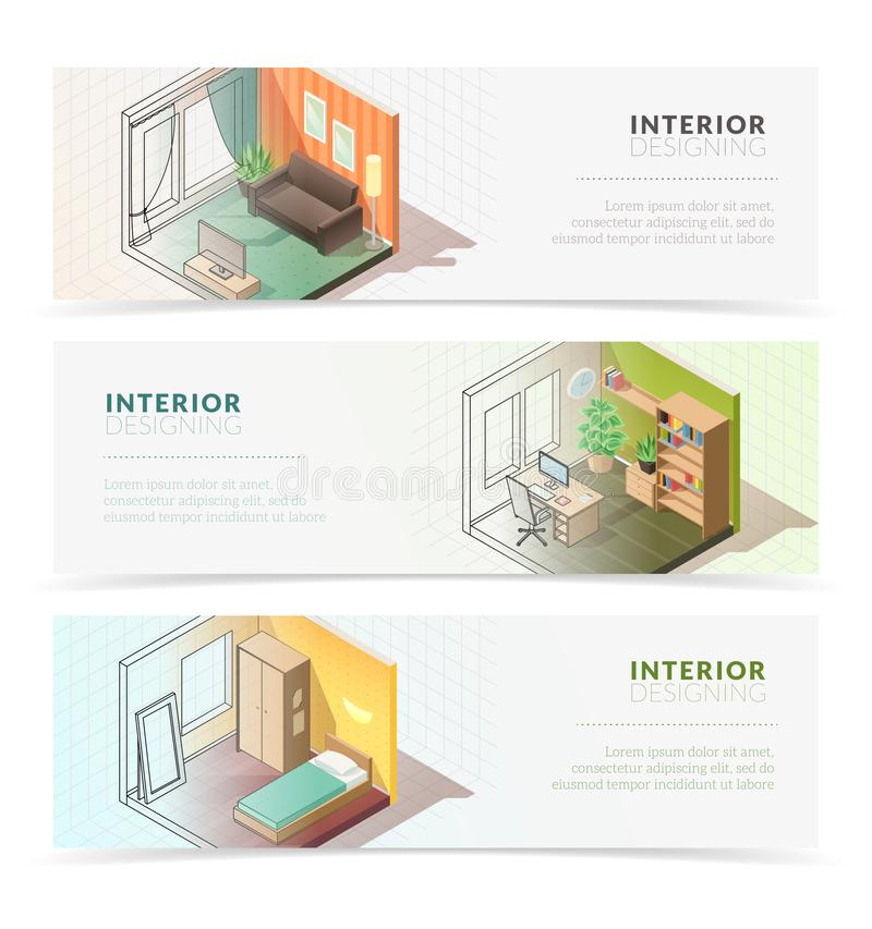 Bannières intérieures isométriques de meubles illustration de vecteur