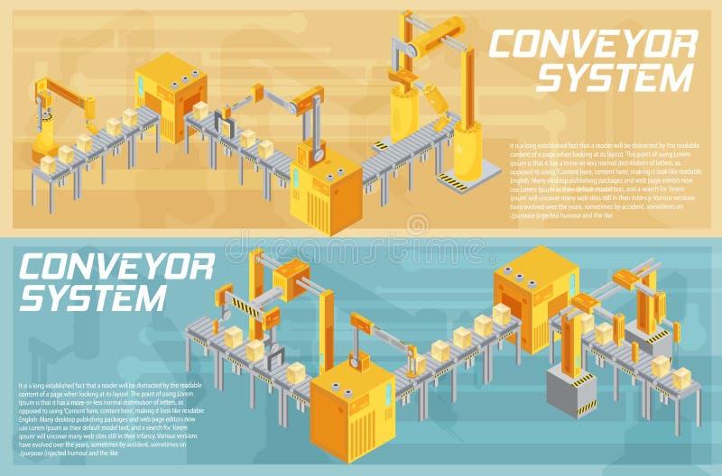 Bannières isométriques de système de convoyeur illustration de vecteur