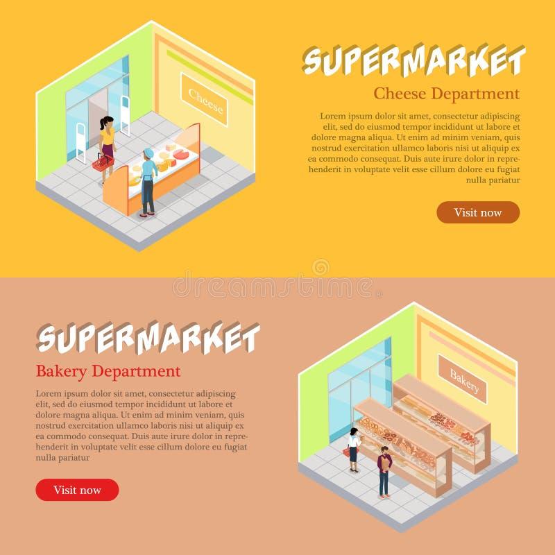 Bannières isométriques de Web de départements de supermarché réglées illustration de vecteur