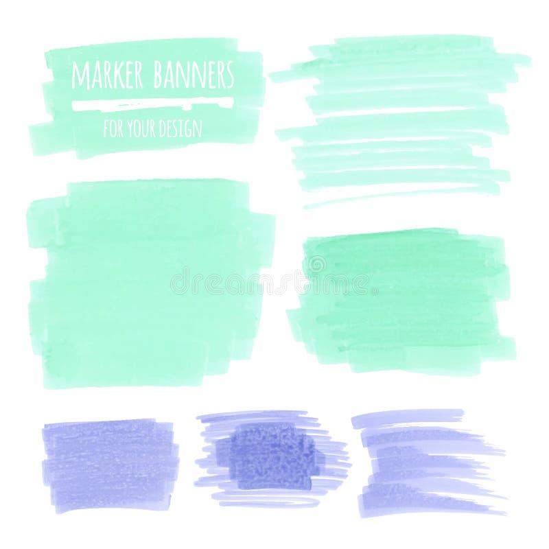 Bannières, lignes et taches texturisées de marqueur Calibre pour la carte de visite professionnelle de visite, bannière, affiche, illustration stock