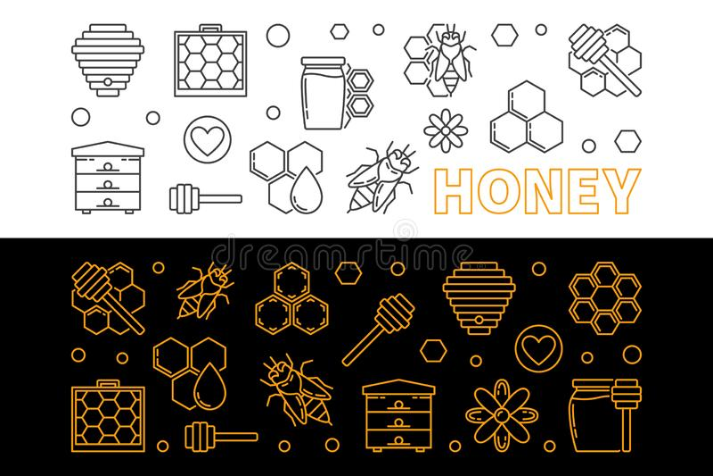 Bannières linéaires de vecteur de miel et de l'apiculture réglées illustration libre de droits