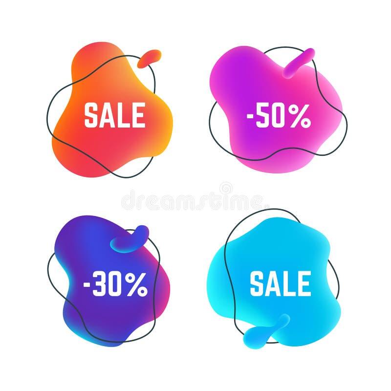 Bannières liquides de vente Bulle ronde abstraite organique de titre, conception liquide d'autocollant de remise, promo d'affair illustration de vecteur