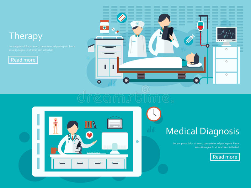 Bannières médicales de concept réglées illustration libre de droits