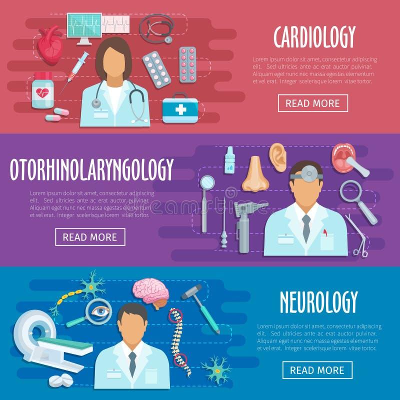 Bannières médicales de vecteur de docteur de cardiologie de neurologie illustration libre de droits