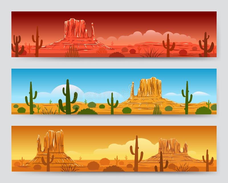 Bannières mexicaines de paysage de désert sauvage de nature illustration de vecteur