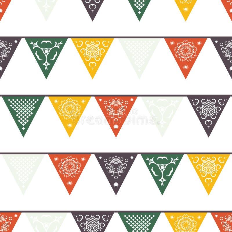Bannières mexicaines traditionnelles accrochantes, drapeaux, guirlandes de lumières électriques illustration stock