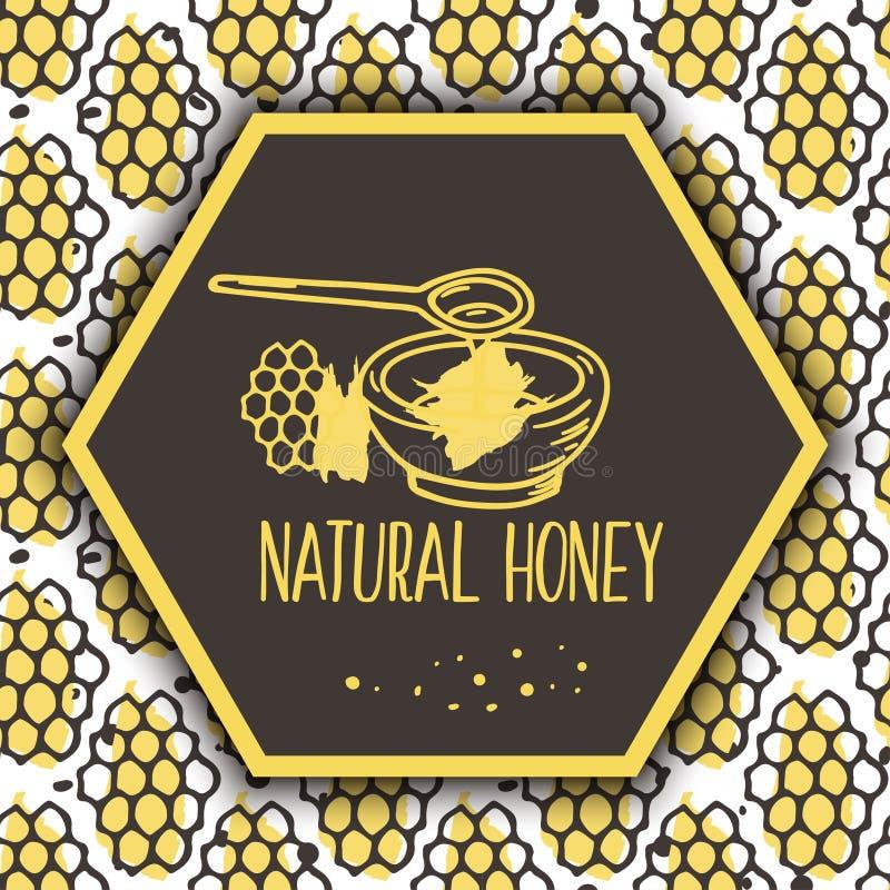 Bannières naturelles de miel de vecteur Bio ensemble tiré par la main illustration de vecteur