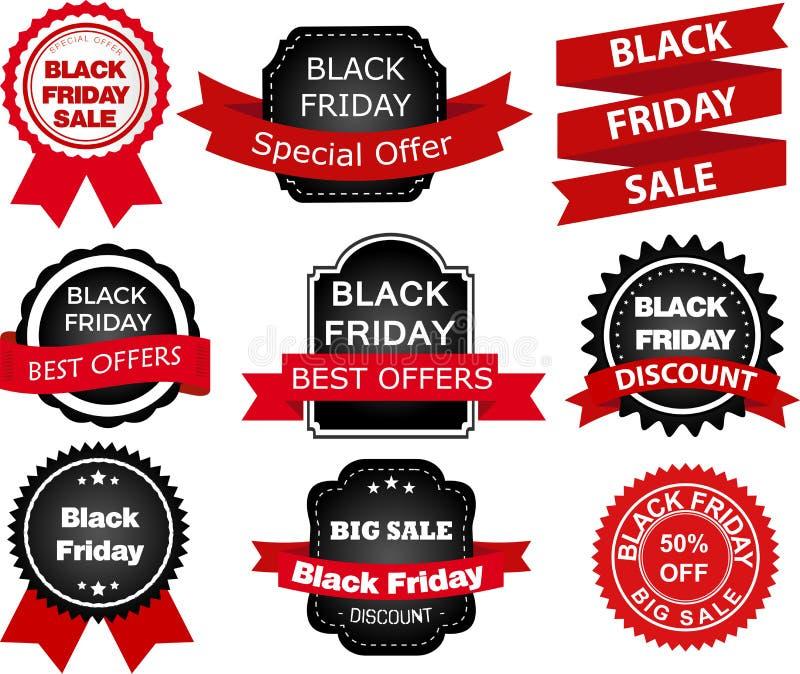 Bannières noires de vente de vendredi illustration libre de droits
