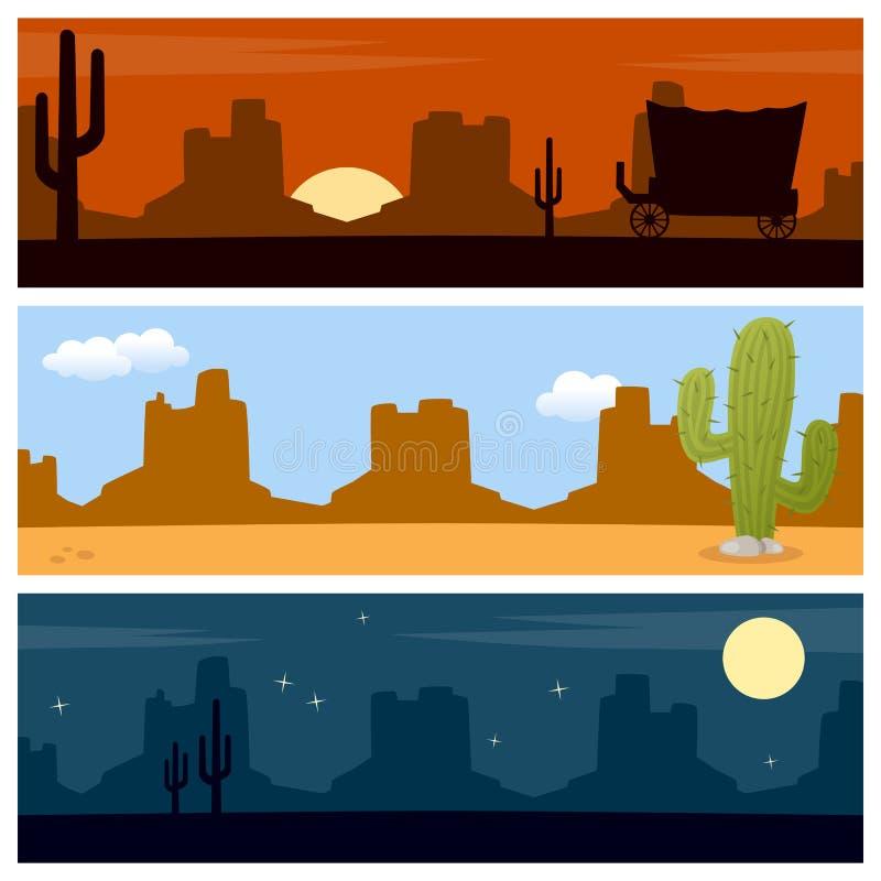 Bannières occidentales sauvages de désert illustration stock