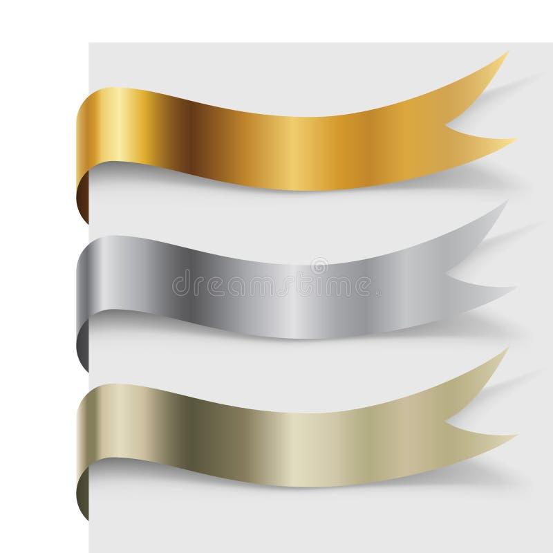Bannières onduleuses en métal vide réglées illustration libre de droits
