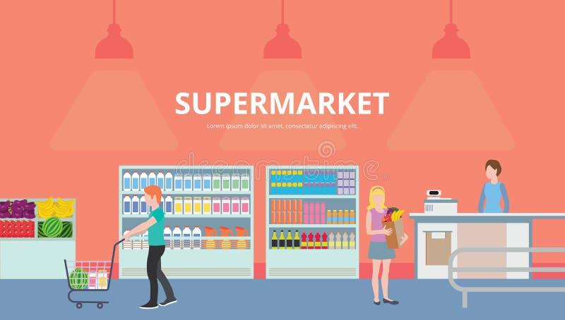 Bannières plates colorées Achats, supermarché illustration de vecteur