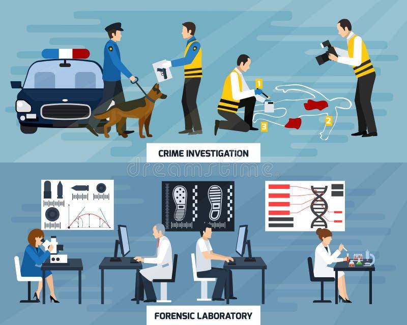 Bannières plates d'enquête de crime illustration de vecteur