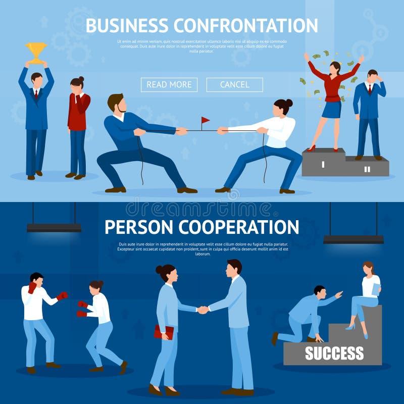 Bannières plates de confrontation constructive d'affaires réglées illustration stock
