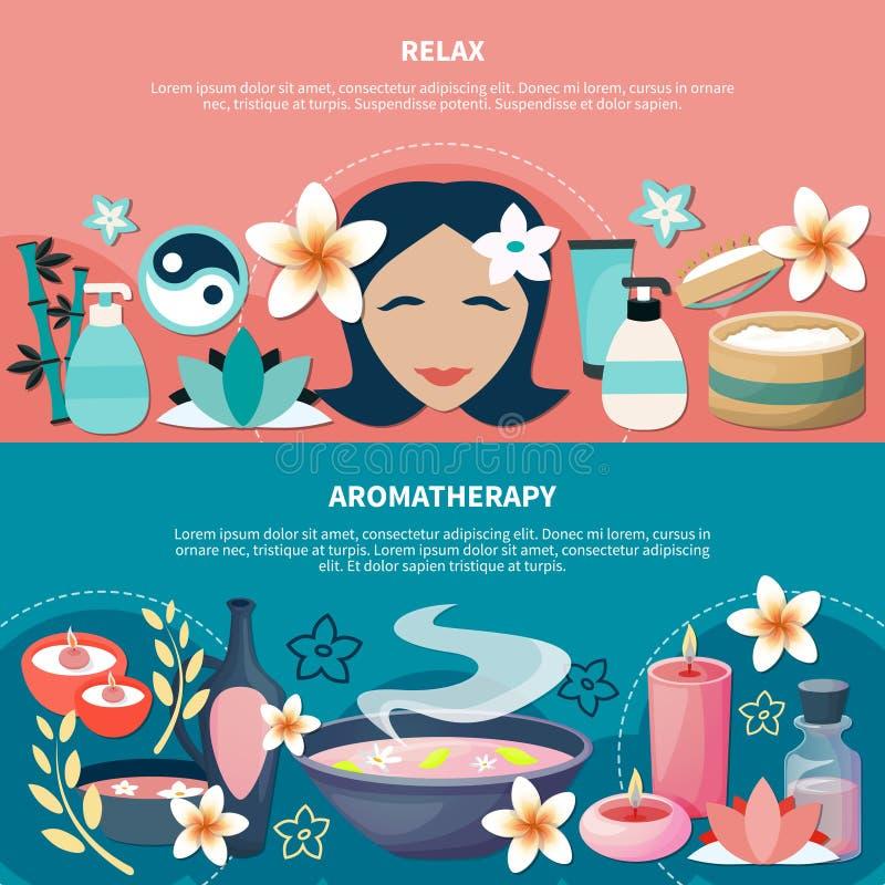 Bannières plates de relaxation d'Aromatherapy de station thermale illustration libre de droits