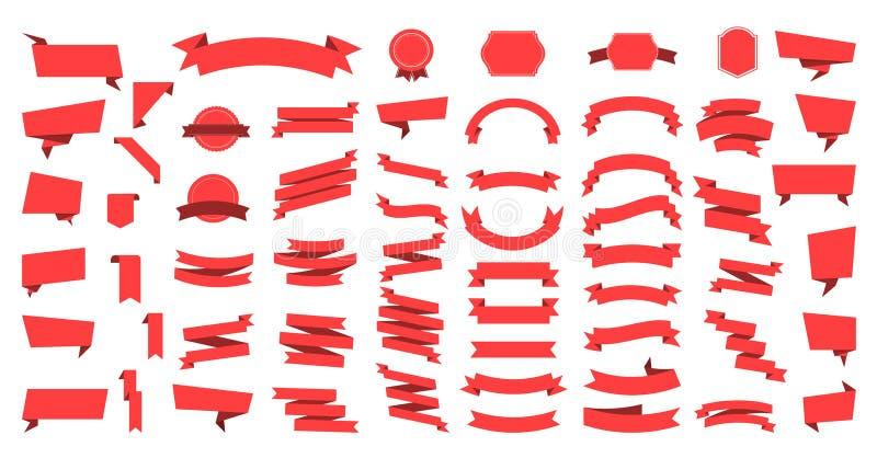 Bannières plates de rubans de vecteur à plat d'isolement sur le fond blanc, ensemble d'illustration des rubans Vecteur de ruban illustration libre de droits