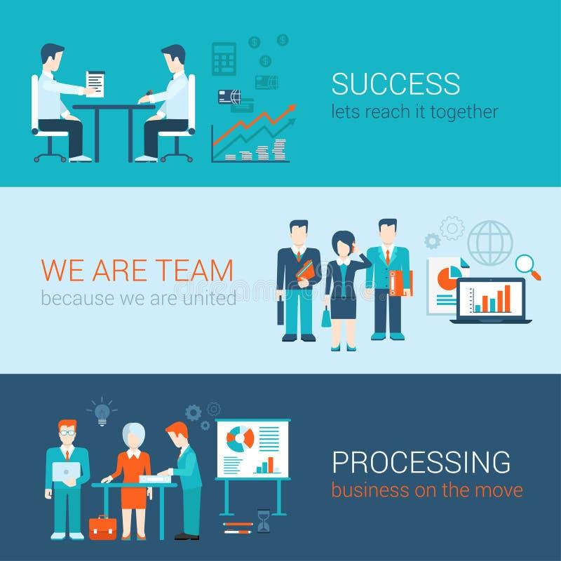 Bannières plates de style réglées : procédé de travail d'équipe, de succès et d'affaires illustration libre de droits