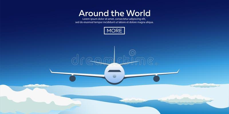 Bannières plates de Web sur le thème du voyage en l'avion, vacances, aventure Vol dans la stratosphère Autour du monde illustration stock