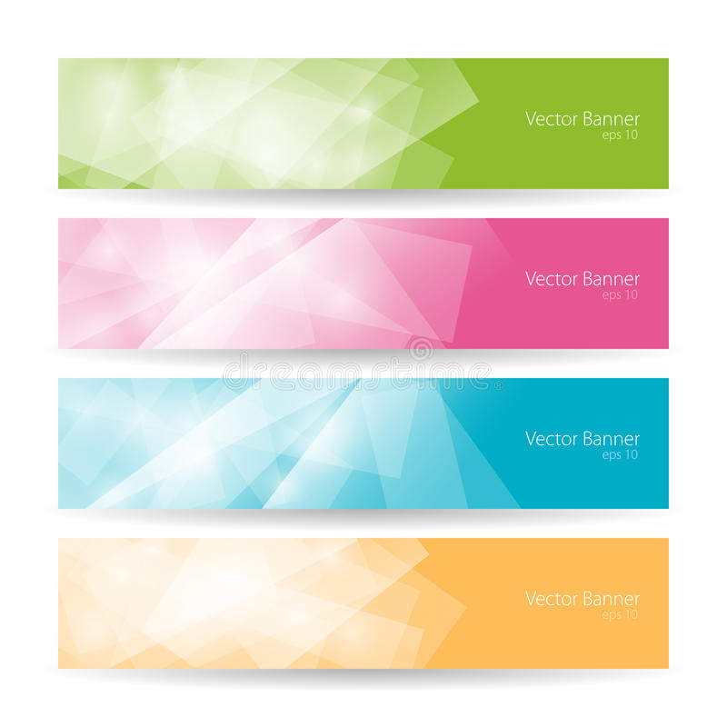 Bannières polygonales colorées réglées, vecteur illustration stock
