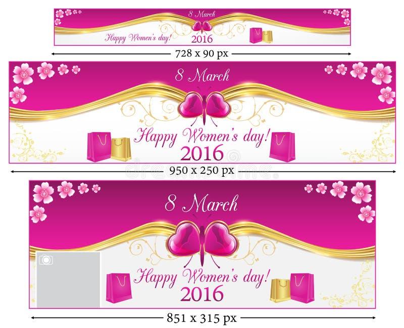 Bannières réglées de Web du jour 2016 des femmes heureuses illustration de vecteur