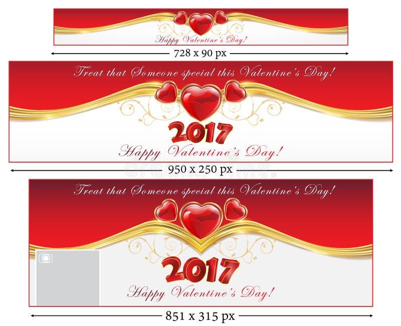 Bannières réglées de Web du jour 2017 du ` s de Valentine illustration de vecteur