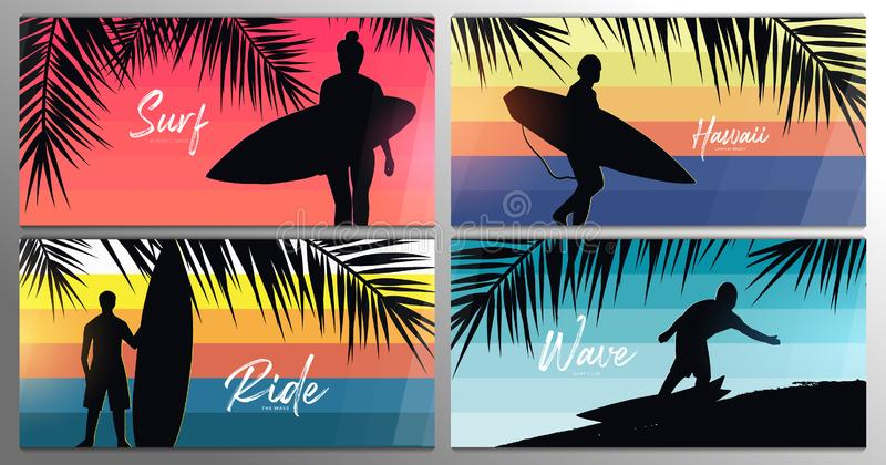 Bannières réglées des surfers avec des planches de surf sur le fond coloré de gradient avec des palmettes illustration de vecteur
