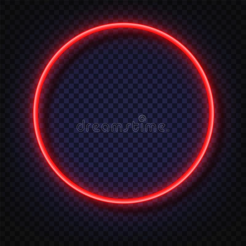 Bannières rondes de lampe au néon Signe de cadre de lampe au néon de vecteur Cadres ronds au néon rouges rougeoyants réalistes d' illustration de vecteur