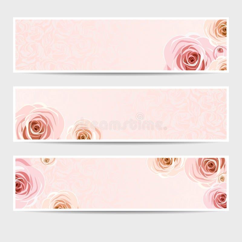 Bannières roses avec des roses Vecteur EPS-10 illustration de vecteur