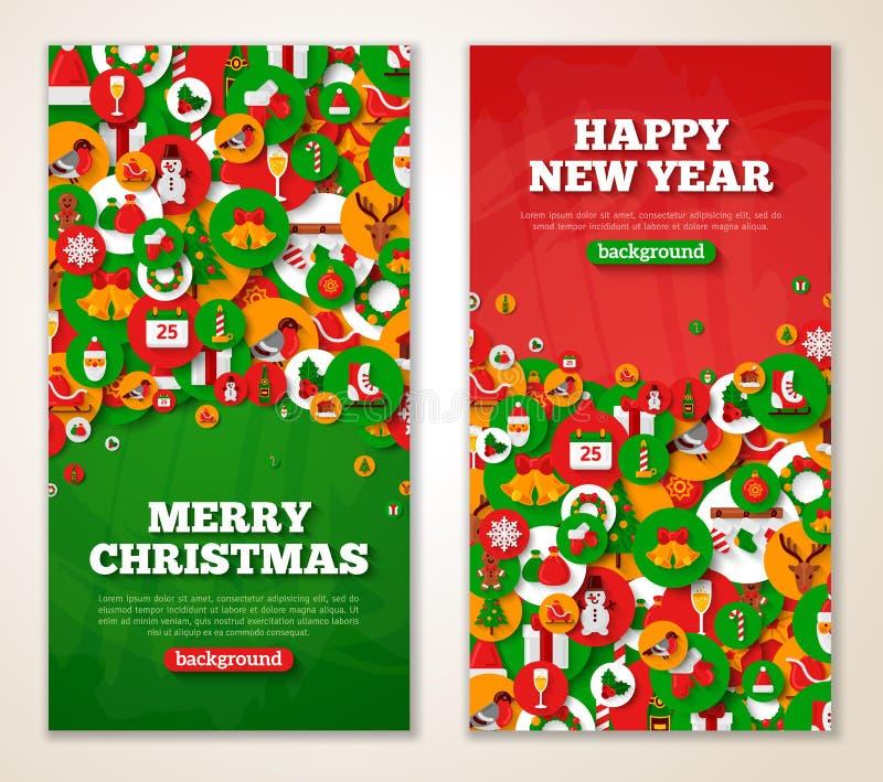 Bannières rouges et vertes verticales de nouvelle année illustration libre de droits