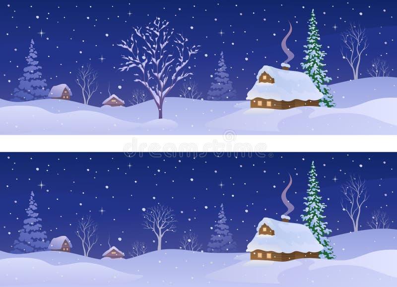 Bannières rurales de nuit d'hiver illustration stock