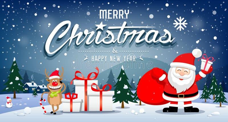Bannières Santa Claus de Joyeux Noël et sourire de renne sur le flocon de neige illustration de vecteur